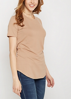 Taupe Soft Brushed Tunic Tee