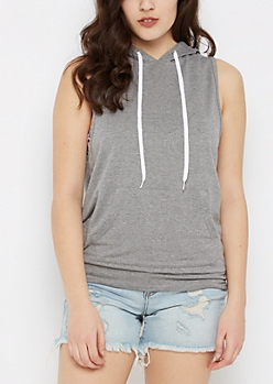 Heather Gray Marled Sleeveless Hoodie