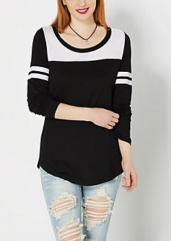 Black Athletic Striped Tunic Top