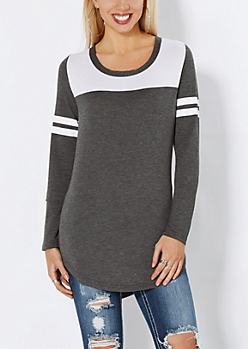 Charcoal Gray Athletic Striped Tunic Top