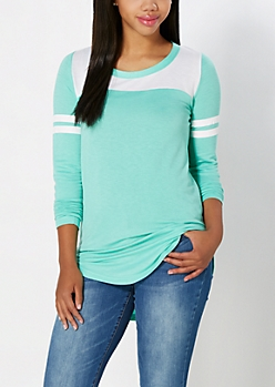 Light Green Athletic Striped Tunic Top
