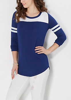 Navy Athletic Striped Tunic Top