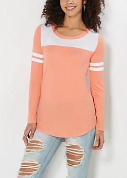 Orange Athletic Striped Tunic Top