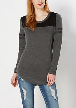 Charcoal Gray Double Striped Tunic Top