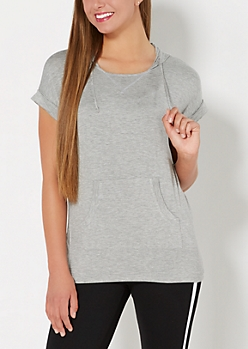 Heather Gray Hooded Tunic Top