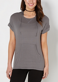 Charcoal Gray Hooded Tunic Top