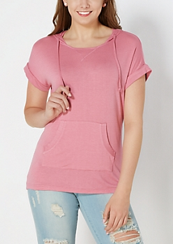 Pink Hooded Tunic Top