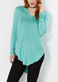 Light Green Slub Knit Hooded Tunic