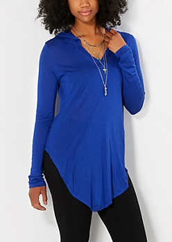 Blue Slub Knit Hooded Tunic