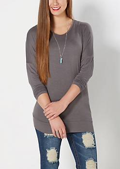 Gray Dolman Tunic Top