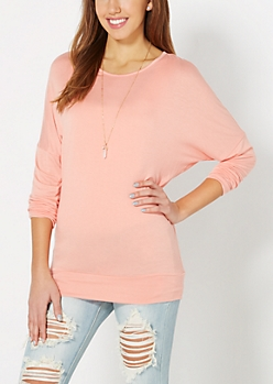 Peach Dolman Tunic Top