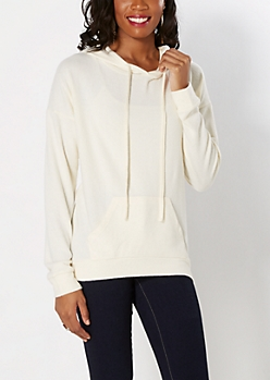 Ivory Brushed Sweater Hoodie