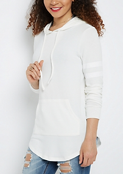 Ivory Marled Athletic Hooded Tunic Top