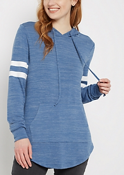 Blue Marled Athletic Hooded Tunic Top