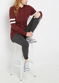 Burgundy Marled Athletic Hooded Tunic Top