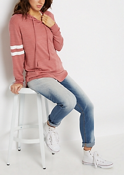 Pink Marled Athletic Hooded Tunic Top