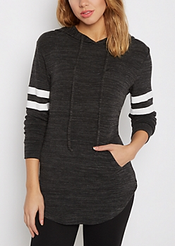 Black Marled Athletic Hooded Tunic Top
