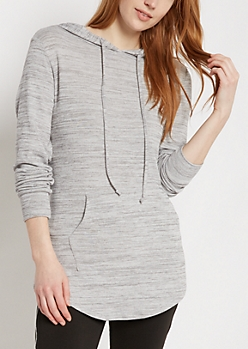 Heather Gray Space Dye Shirttail Hoodie