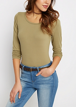Olive Brushed Shirttail Tee