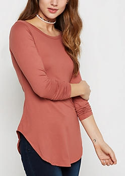 Dark Pink Brushed Shirttail Tee