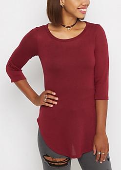 Burgundy Quarter-Sleeve Tunic Top