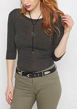 Heather Gray Tunic Shirttail Shirt