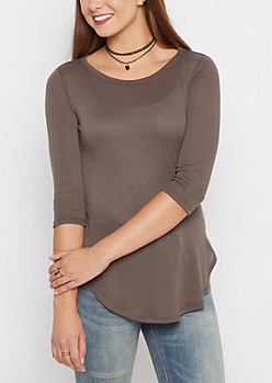 Charcoal Gray Tunic Shirttail Shirt