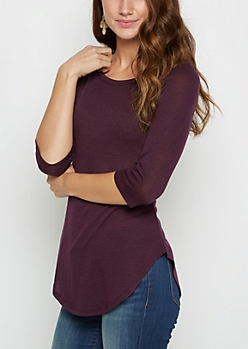 Dark Purple Tunic Shirttail Shirt