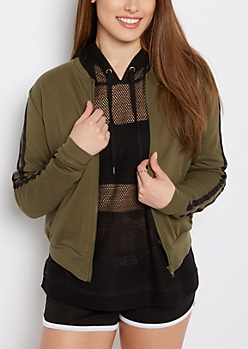 Olive Striped Sleeve Jersey Track Jacket