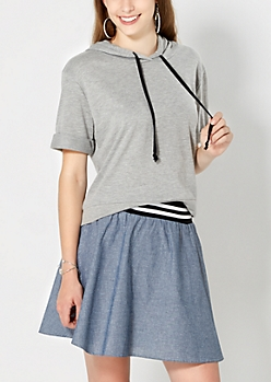 Heathered Gray Cropped Hoodie
