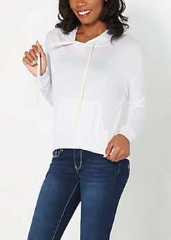 White High-Low Hoodie