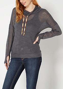Charcoal Gray Funnel Neck Top