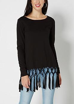 Black Lattice Fringe Sweatshirt