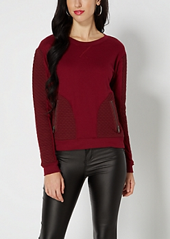 Burgundy Quilted Sweatshirt