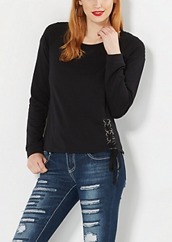Black Lace-Up Hem Quilted Sweatshirt