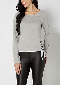 Gray Lace-Up Hem Quilted Sweatshirt