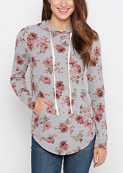Rosy Ribbed Knit Hoodie