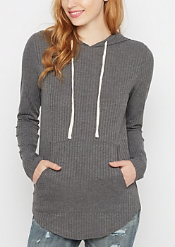 Charcoal Ribbed Knit Hoodie
