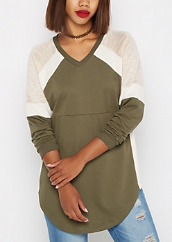 Olive Pieced V Neck Sweatshirt