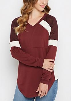 Burgundy Pieced V Neck Sweatshirt