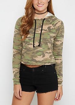 Camo Cropped Sweatshirt