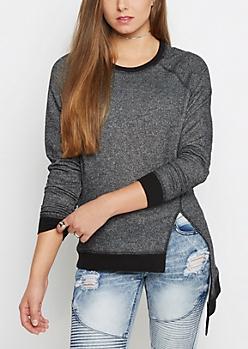 Charcoal Marled Asymmetrical Sweatshirt