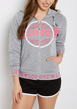 Gray Addicted to Love Zip Hoodie
