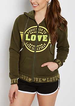 Olive Addicted to Love Zip Hoodie