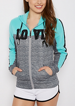 Teal Love Patched Zip-Down Hoodie