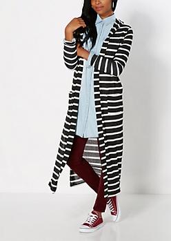 Black Stripe Hooded Duster