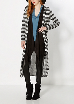 Gray Striped Knit Duster