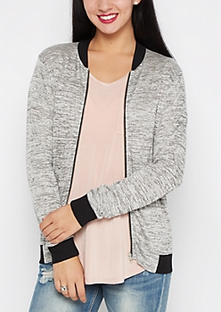 Gray Space Dye Knit Bomber