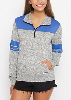 Marled Zipped Mock Neck Track Jacket