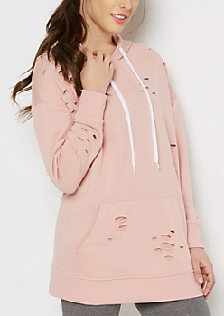 Light Pink Ripped Hoodie